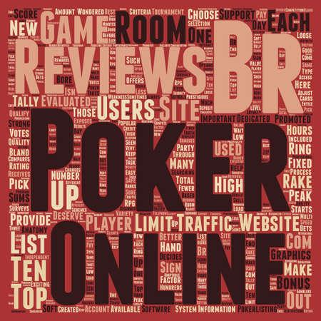 listings: online poker reviews text background wordcloud concept Illustration