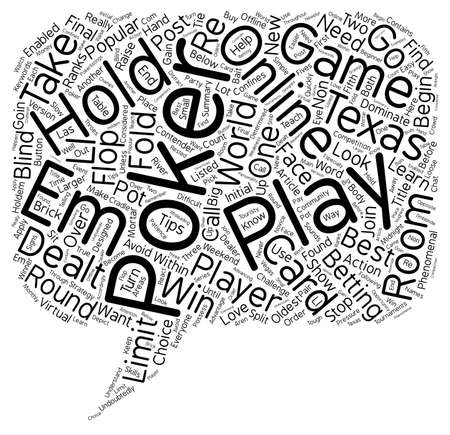 Online Texas Hold em How To Play And How To Win text background wordcloud concept