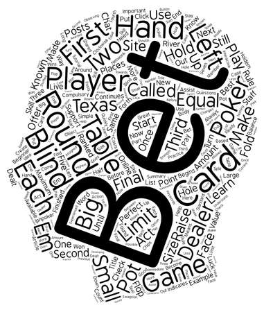 Online Poker Texas Holdem for beginners text background wordcloud concept Illustration