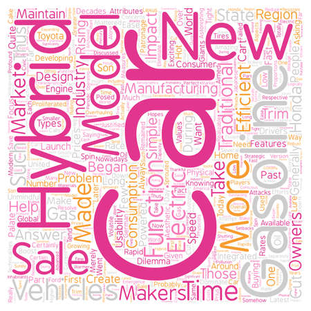 hybrid: new hybrid cars2 text background wordcloud concept Illustration
