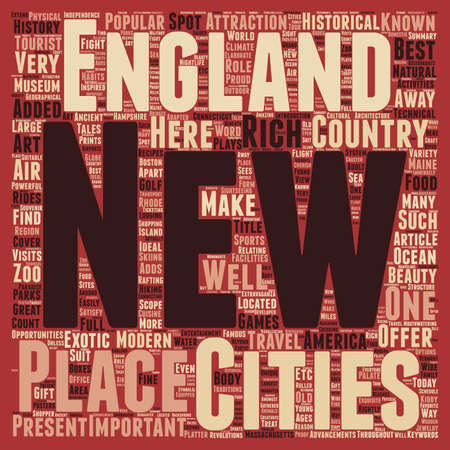 away travel: New england travel text background wordcloud concept Illustration