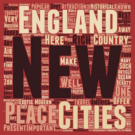 New england travel text background wordcloud concept Иллюстрация