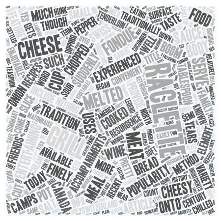 70 s: North America Gets Cheesy with Raclette Grills text background wordcloud concept Illustration