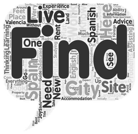 live work city: NewSpain Live and work in a Spanish city text background wordcloud concept