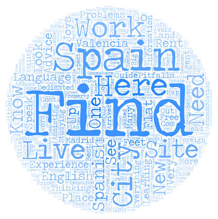 live work city: New2Spain Live and work in a Spanish city text background wordcloud concept