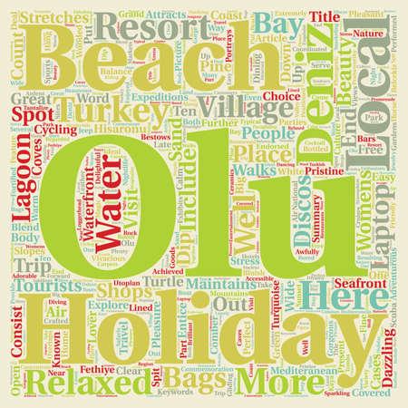 deniz: Olu Deniz Turkey Holidays text background wordcloud concept Illustration