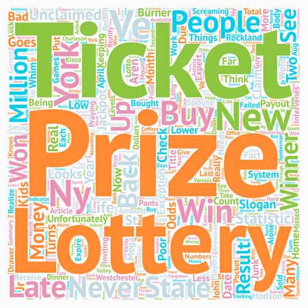 NY Lottery Results text background wordcloud concept Illustration