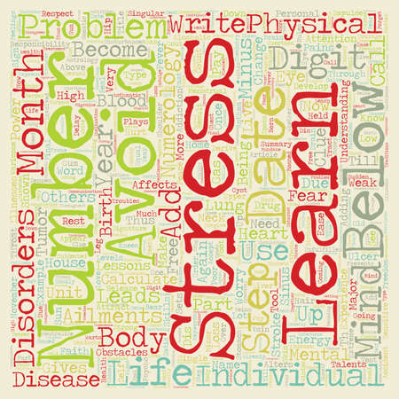 numerology: Numerology and Disease text background wordcloud concept