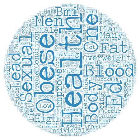 salud sexual: La obesidad y la mala salud sexual texto wordcloud concepto de fondo masculino