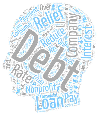 Nonprofit Debt Relief Companies text background wordcloud concept Illustration