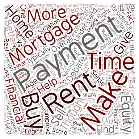 vs: Mortgage Payments Vs Rent Payments text background wordcloud concept