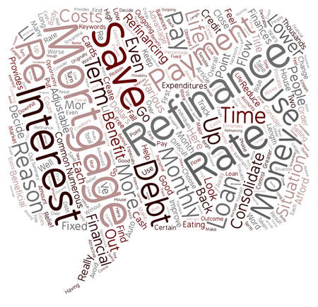 refinancing: Mortgage Refinance Benefits text background wordcloud concept