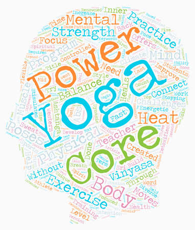 power yoga: Need power Try Core Power Yoga text background wordcloud concept