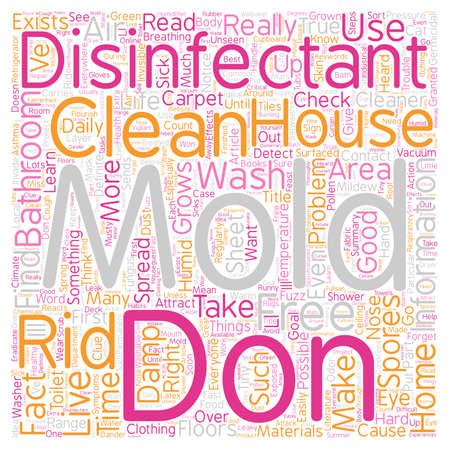 desinfectante: El moho Desinfectante de wordcloud concepto de fondo de texto