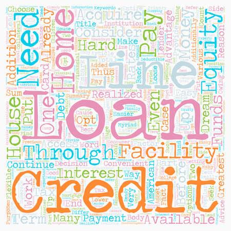 equidad: Dinero desde su casa a través de hogar préstamo o línea de crédito de texto concepto de fondo wordcloud