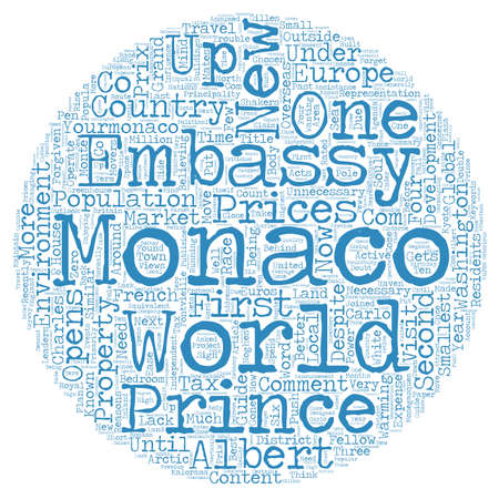 opens: Monaco Gets Active And Opens New US Embassy text background wordcloud concept