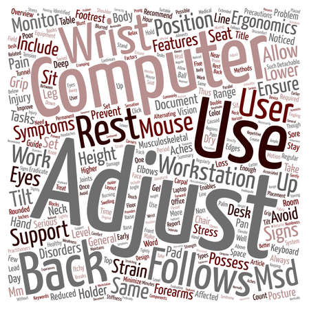 minimize: Musculoskeletal Disorders MSD An Overview of Preventive Methods text background wordcloud concept