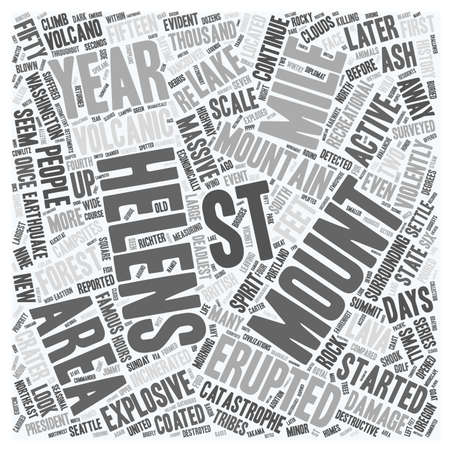 helens: Mount St Helens text background wordcloud concept