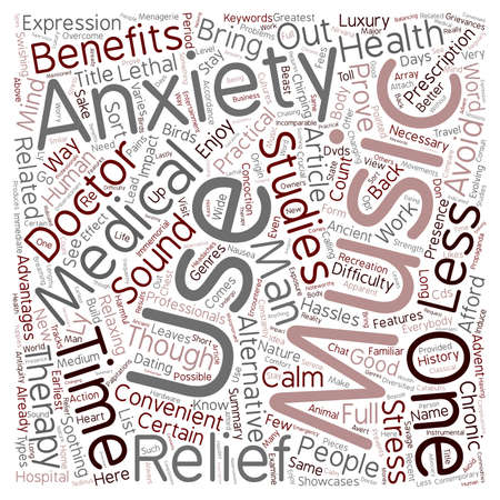 convenient: Music The Convenient Anxiety Relief text background wordcloud concept Illustration