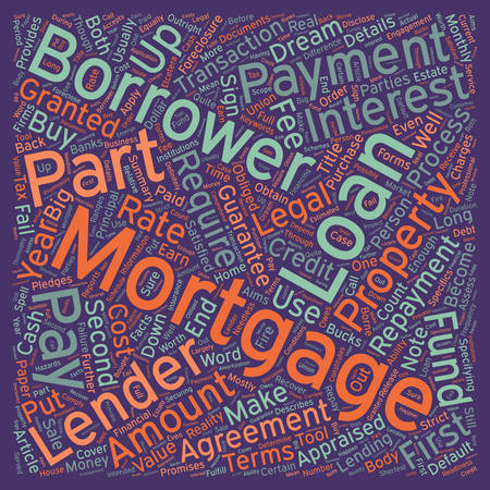 lenders: Mortgage Can Be A Long Engagement text background wordcloud concept