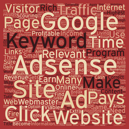 webmaster website: Make A Great Income With Adsense text background wordcloud concept