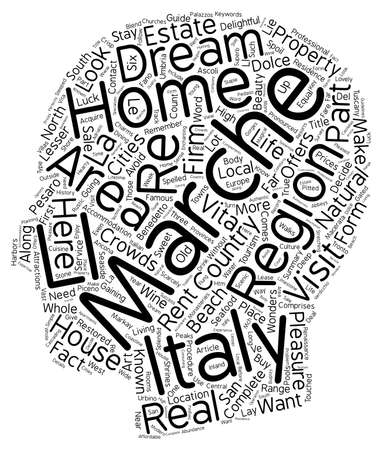 homes: Marche Country Homes Your Dream Home in Italy text background wordcloud concept