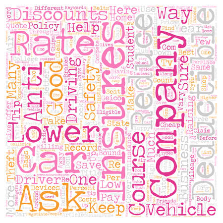 Lower Your Car Insurance Rate text background wordcloud concept