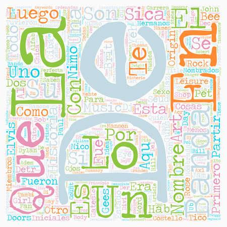 Los Nombres Detras de Las Bandas de Musica text background wordcloud concept Illustration