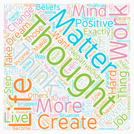 matter: Mind Over Matter The Power Of Thoughts text background wordcloud concept