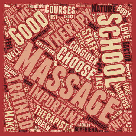 Massage School text background wordcloud concept Illustration