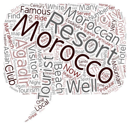 untouched: Major Tourist Resorts in Morocco text background wordcloud concept Illustration