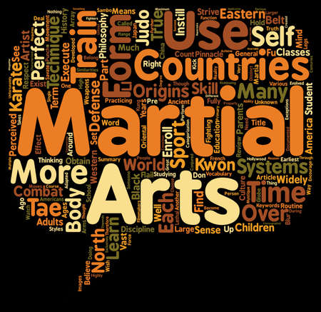 Martial Arts text background wordcloud concept