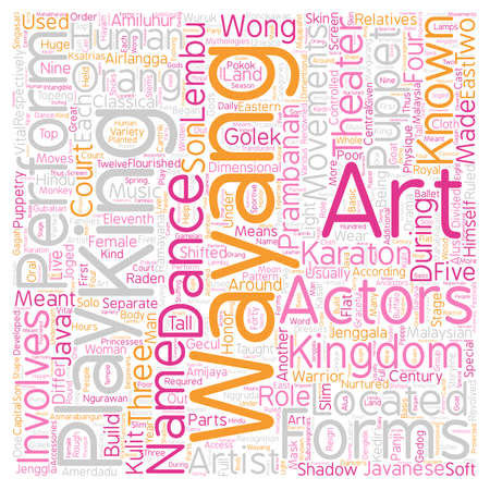 Malaysian Theater Arts text background wordcloud concept Illustration