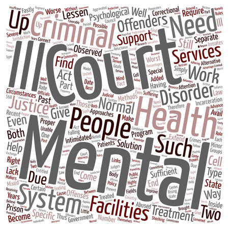 jail cell: mental health courts 1 text background wordcloud concept Illustration