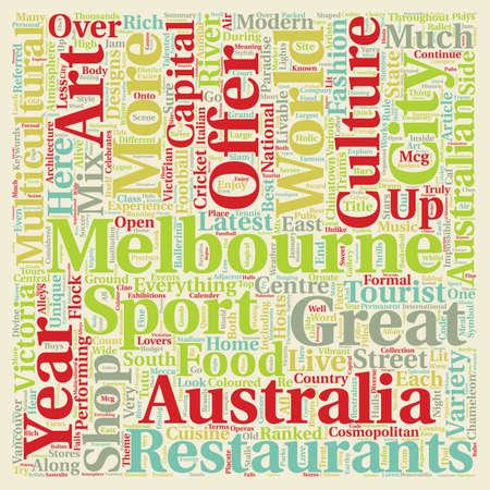 melbourne australia: Melbourne The Cosmopolitan Capital Of Australia text background wordcloud concept