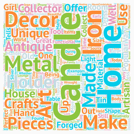 Metal Candle Holders For The Antique Collector text background wordcloud concept Illustration
