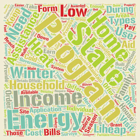 energy needs: Low Income Home Energy Assistance text background wordcloud concept