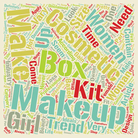 make summary: Makeup Boxes text background wordcloud concept