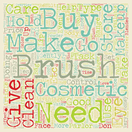 make summary: Makeup Brushes text background wordcloud concept Illustration