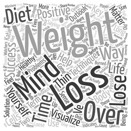 Mind Over Matter Key Strategies for Weight Loss Success text background wordcloud concept