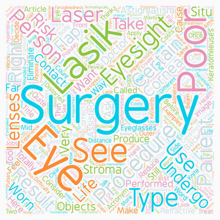 Lasik Eye Surgery Is It Right For You text background wordcloud concept