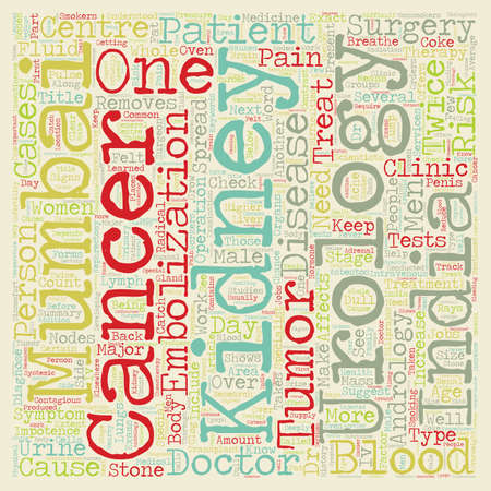 kidney cancer affects men about twice as often as women text background wordcloud concept Illustration