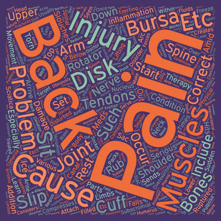 disturbed: Injuries and Back Pain text background wordcloud concept