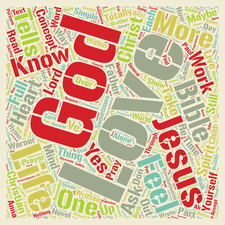 consuming: Jesus Loves Me text background wordcloud concept Illustration