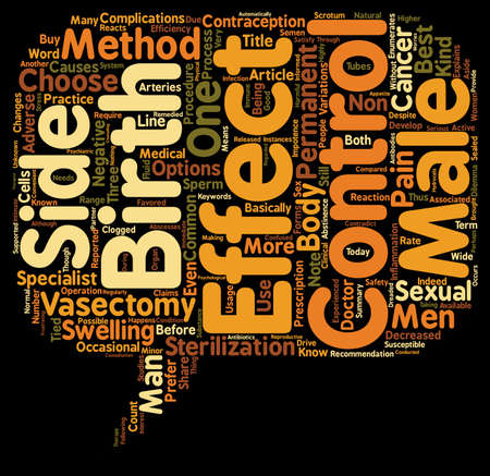 birth control: Know the Side Effects of Vasectomy Male Birth Control text background wordcloud concept Illustration