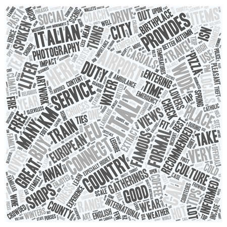 temperate: Italy text background wordcloud concept