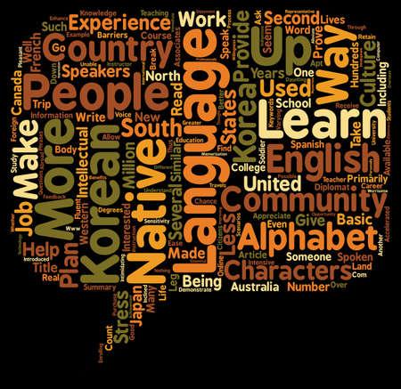 spoken: Learn The Korean Language text background wordcloud concept Illustration
