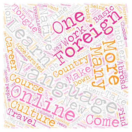 Learn a Foreign Language Online text background wordcloud concept