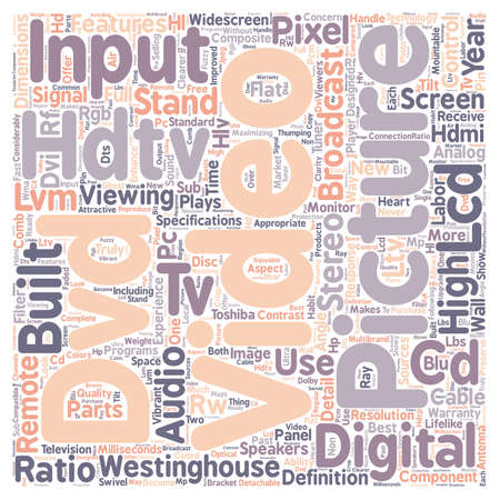hdtv: lcd hdtv 1 text background wordcloud concept Illustration