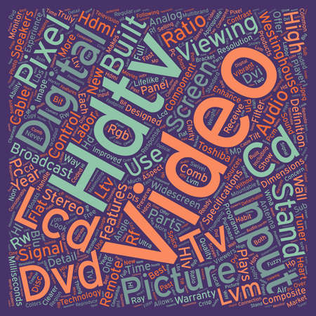 lcd hdtv text background wordcloud concept Illustration